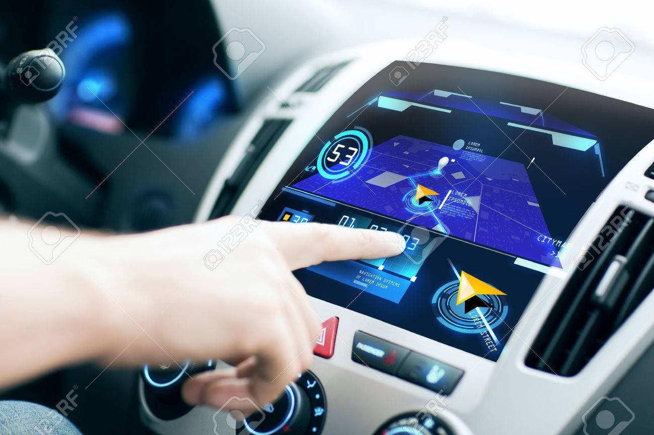 transport, destination, modern technology and people concept - male hand searching for route using navigation system on car dashboard screen - 57376940