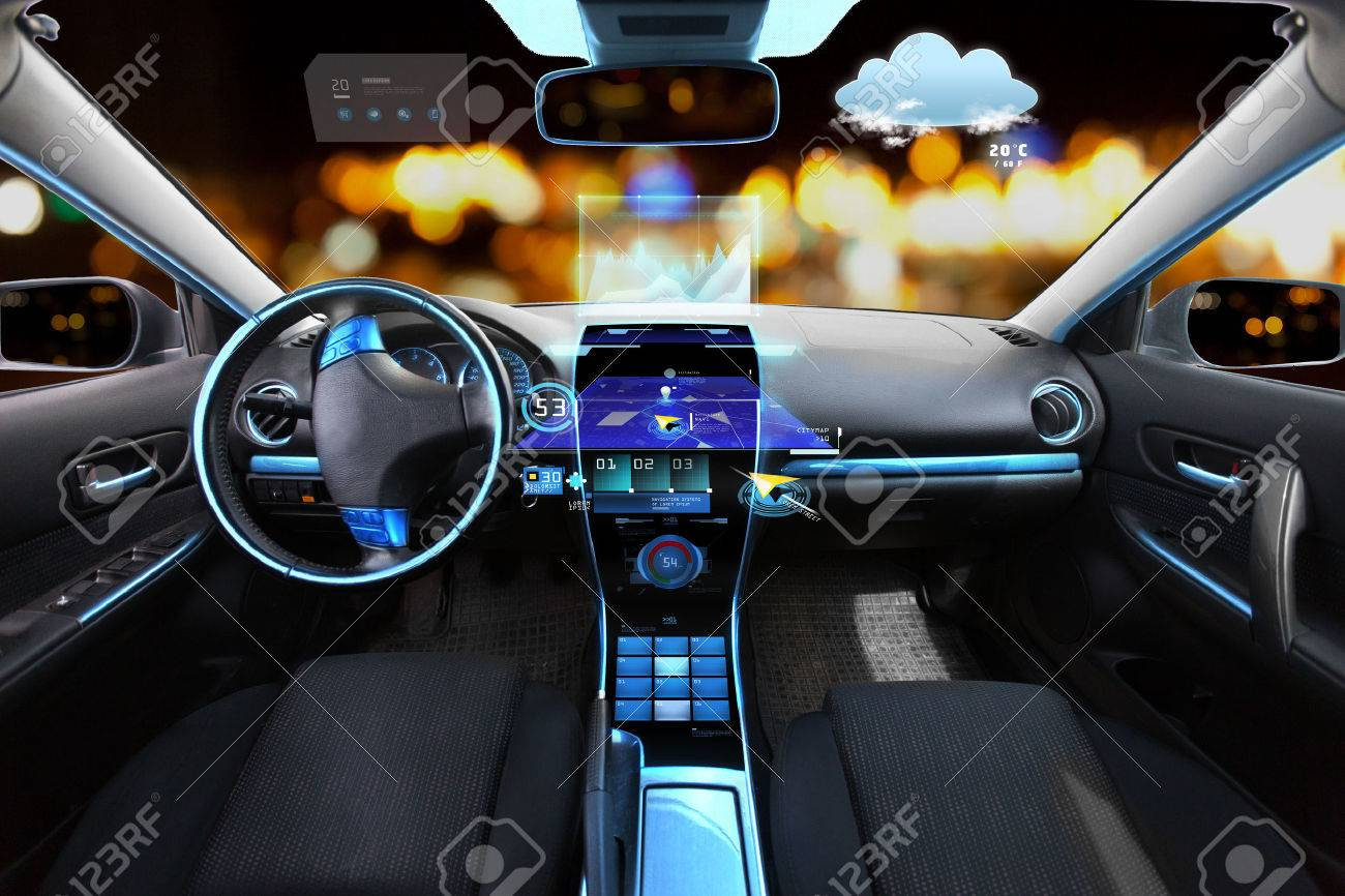 transport, destination and modern technology concept - car salon with navigation system on dashboard and meteo sensor on windshield over night lights background - 57472986