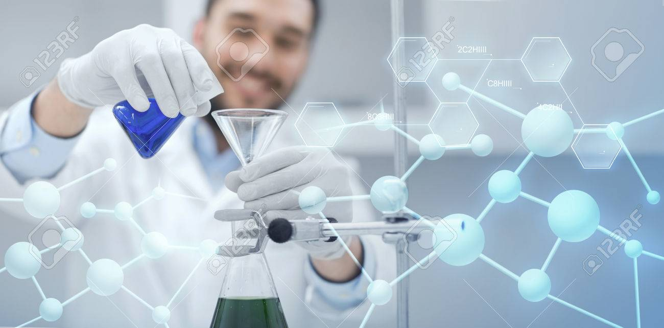 science, chemistry, biology, medicine and people concept - close up of scientist filling test tubes with funnel and making research in clinical laboratory over blue molecular structure background - 59196142