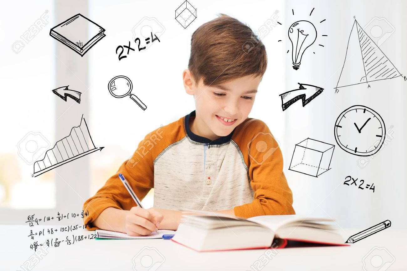 education, childhood, people, homework and school concept - smiling student boy with book writing to notebook at home over mathematical doodles - 61221227