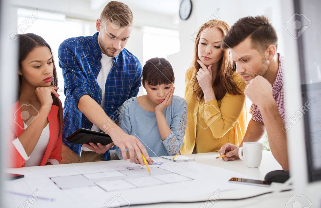 Business startup education and people concept creative architect business startup education and people concept creative architect team or students with blueprint malvernweather Gallery