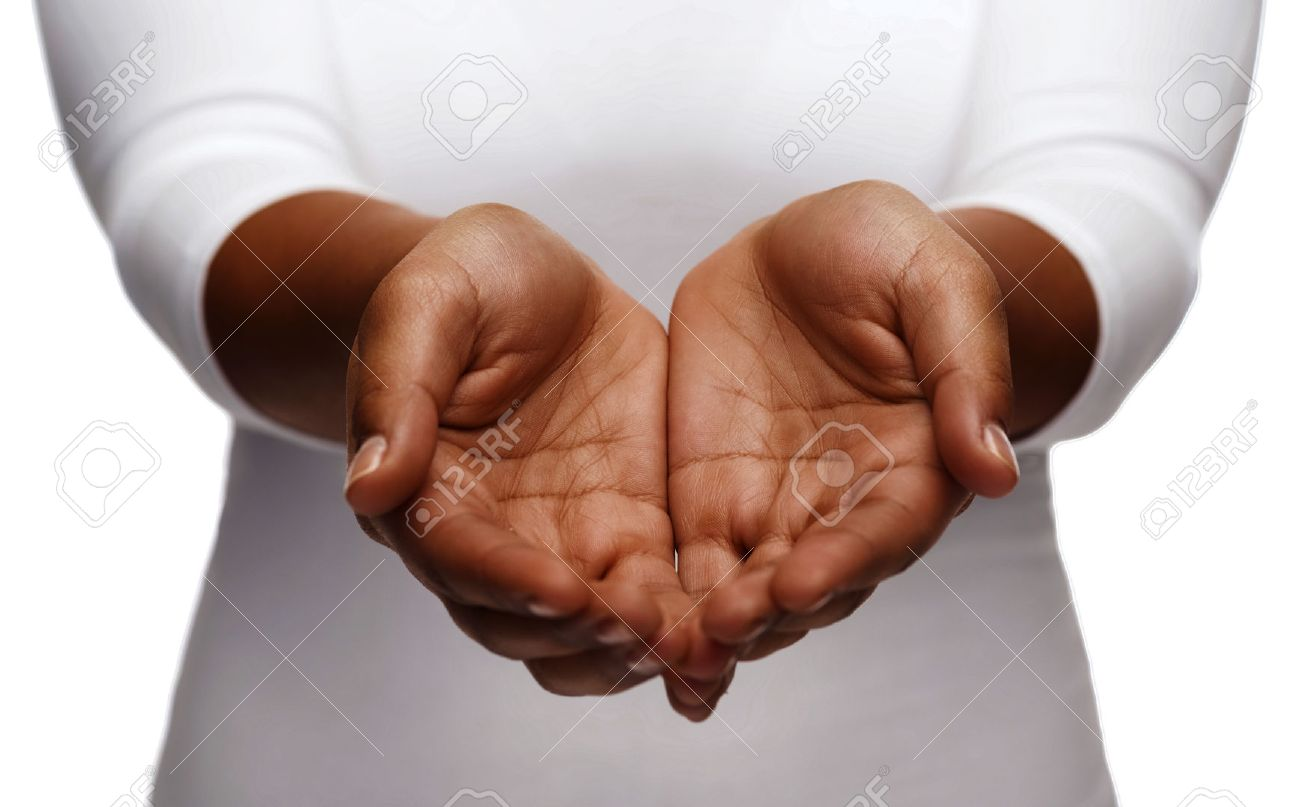 people, charity and poverty concept - close up of african american female empty cupped hands holding and showing something - 62194642