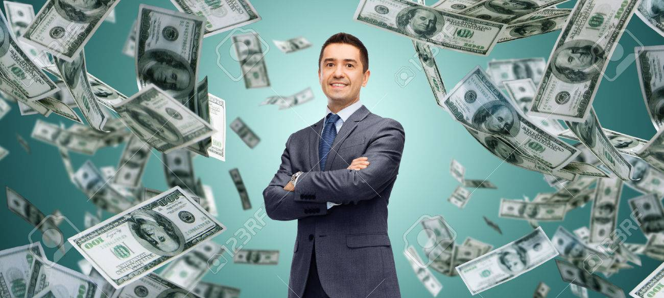 business, finance, investment, economy and people concept - happy businessman over dollar cash money rain and green background - 62250383