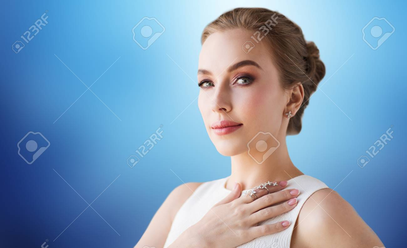 Jewelry, Luxury, Wedding And People Concept - Smiling Woman In ...