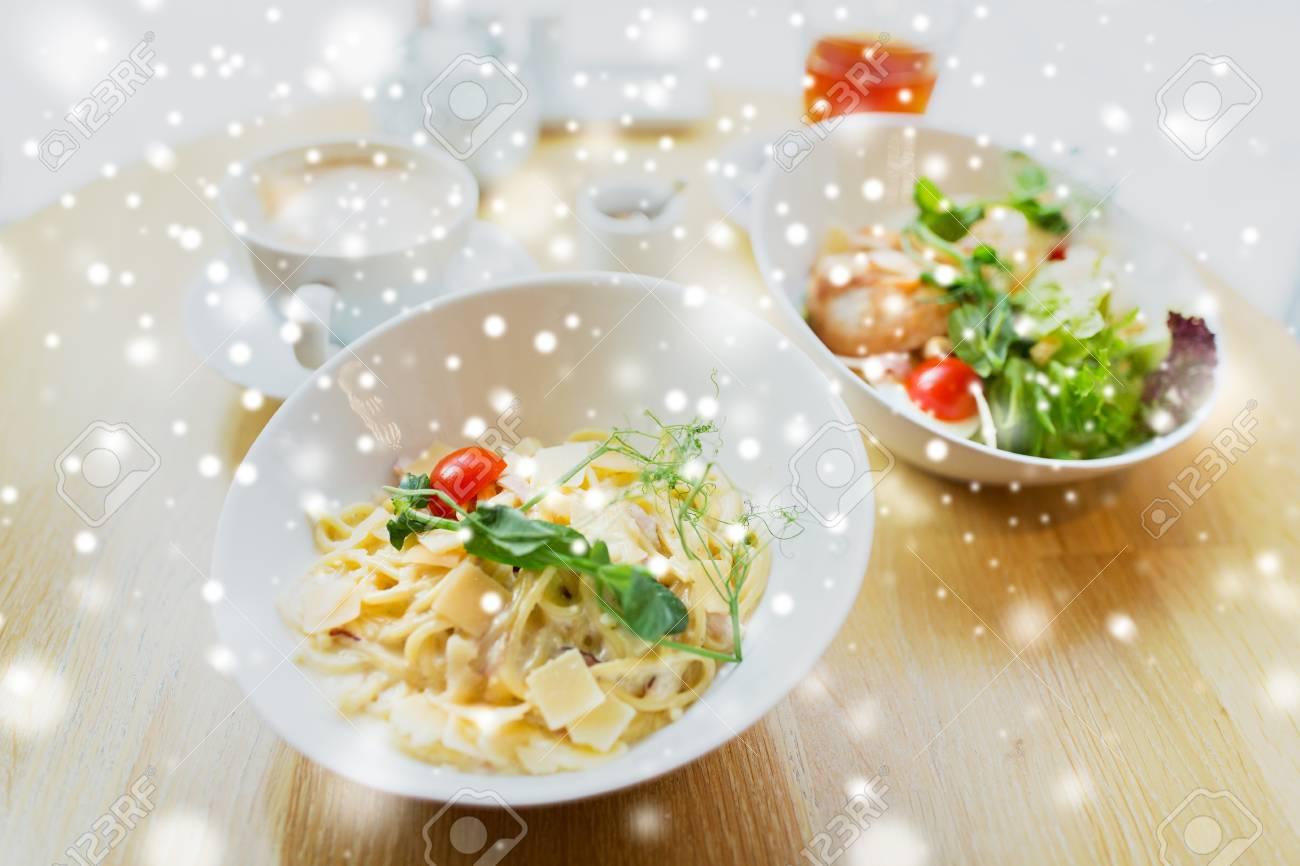 Essen Kochen Und Essen Konzept Nahaufnahme Von Teigwaren In Der