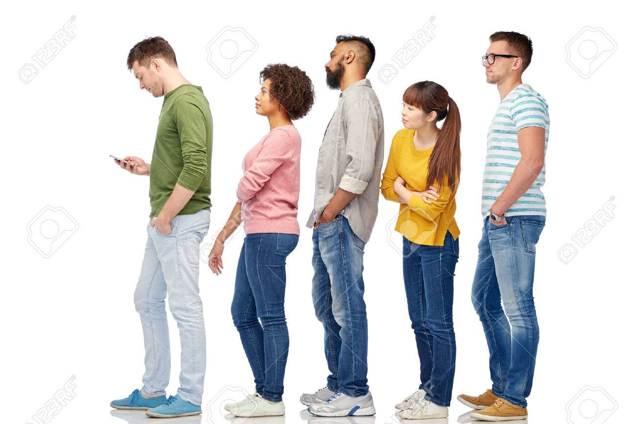technology, ethnicity and people concept - international group of men and women in queue line with smartphone over white Banque d'images - 66189480