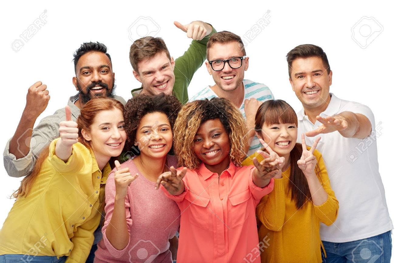 diversity, race, ethnicity and people concept - international group of happy smiling men and women showing thumbs up and peace over white Standard-Bild - 66495462