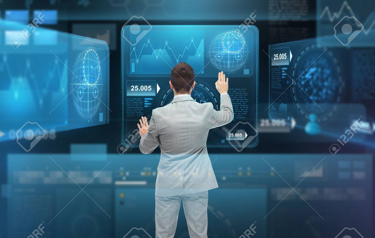 Businessman Working With Virtual Screens Stock Photo, Picture And ...