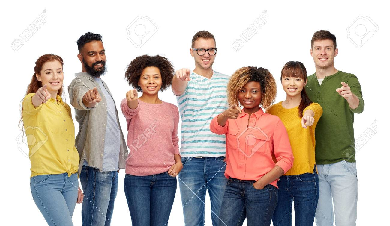 international group of people pointing on you - 68710081