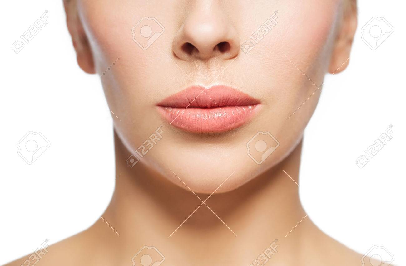closeup of woman face and lips Standard-Bild - 68985472