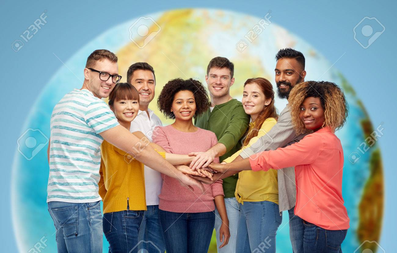 international group of happy people holding hands Standard-Bild - 69547135