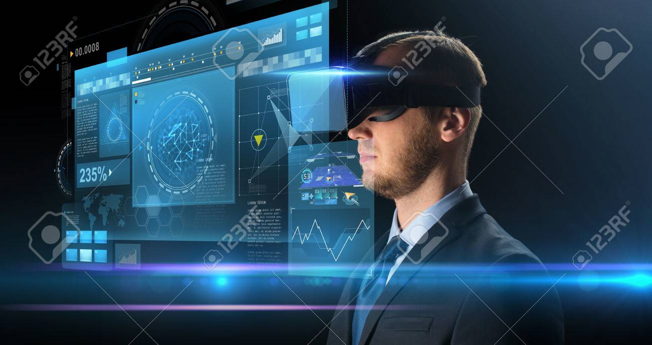 technology, people, cyberspace and augmented reality concept - young businessman with virtual headset or 3d glasses and screen projection over black background Banque d'images - 74163853