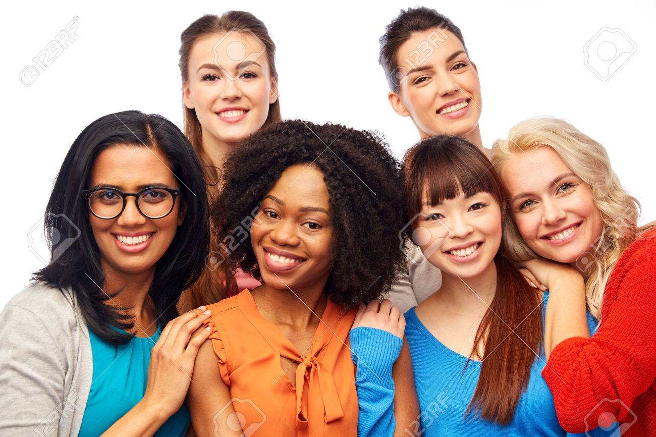 international group of happy women hugging - 76362959