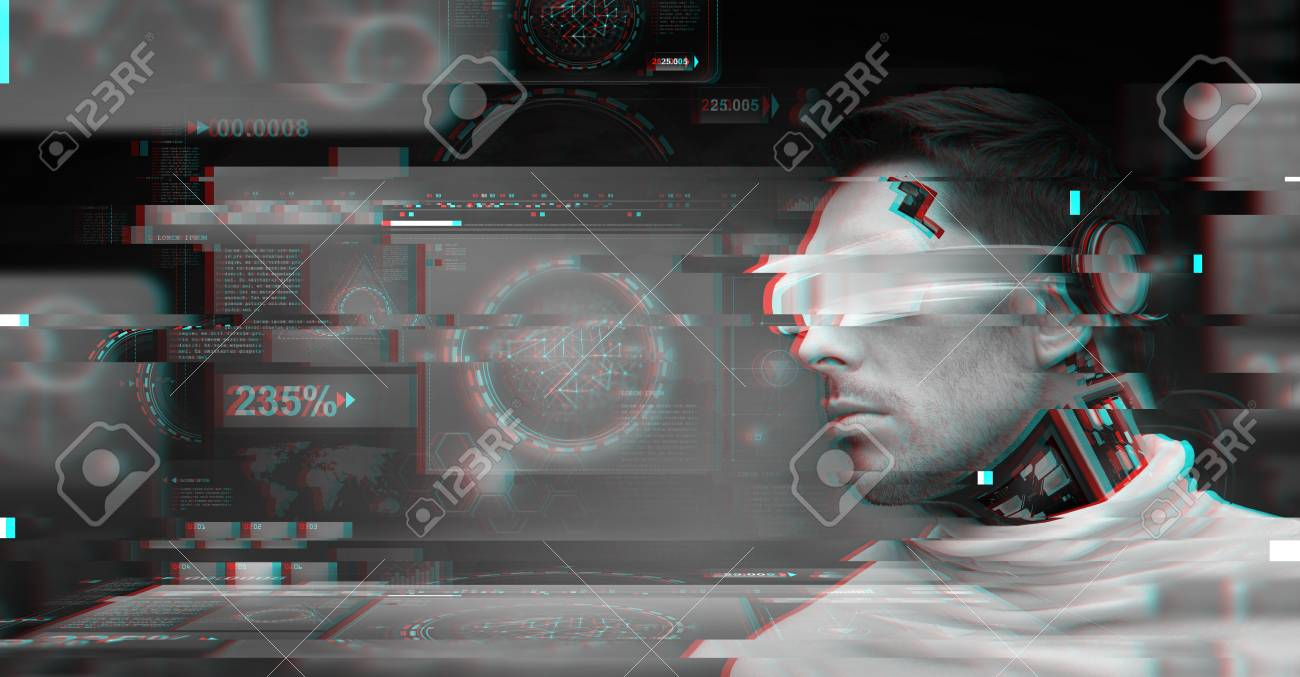 People, Technology And Cyberspace Concept - Man With 3d Glasses ...
