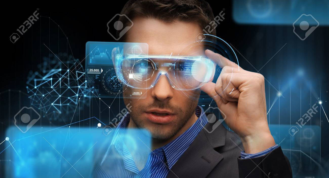 augmented reality, technology, business and people concept -businessman in virtual glasses looking at screen projections over dark background - 80275477
