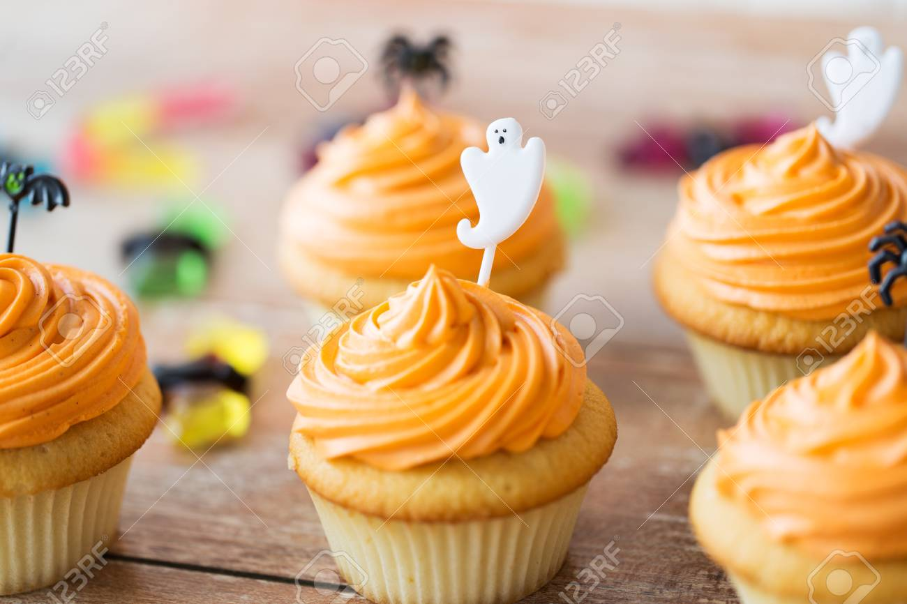Halloween Party Cupcakes Or Muffins On Table Stock Photo Picture
