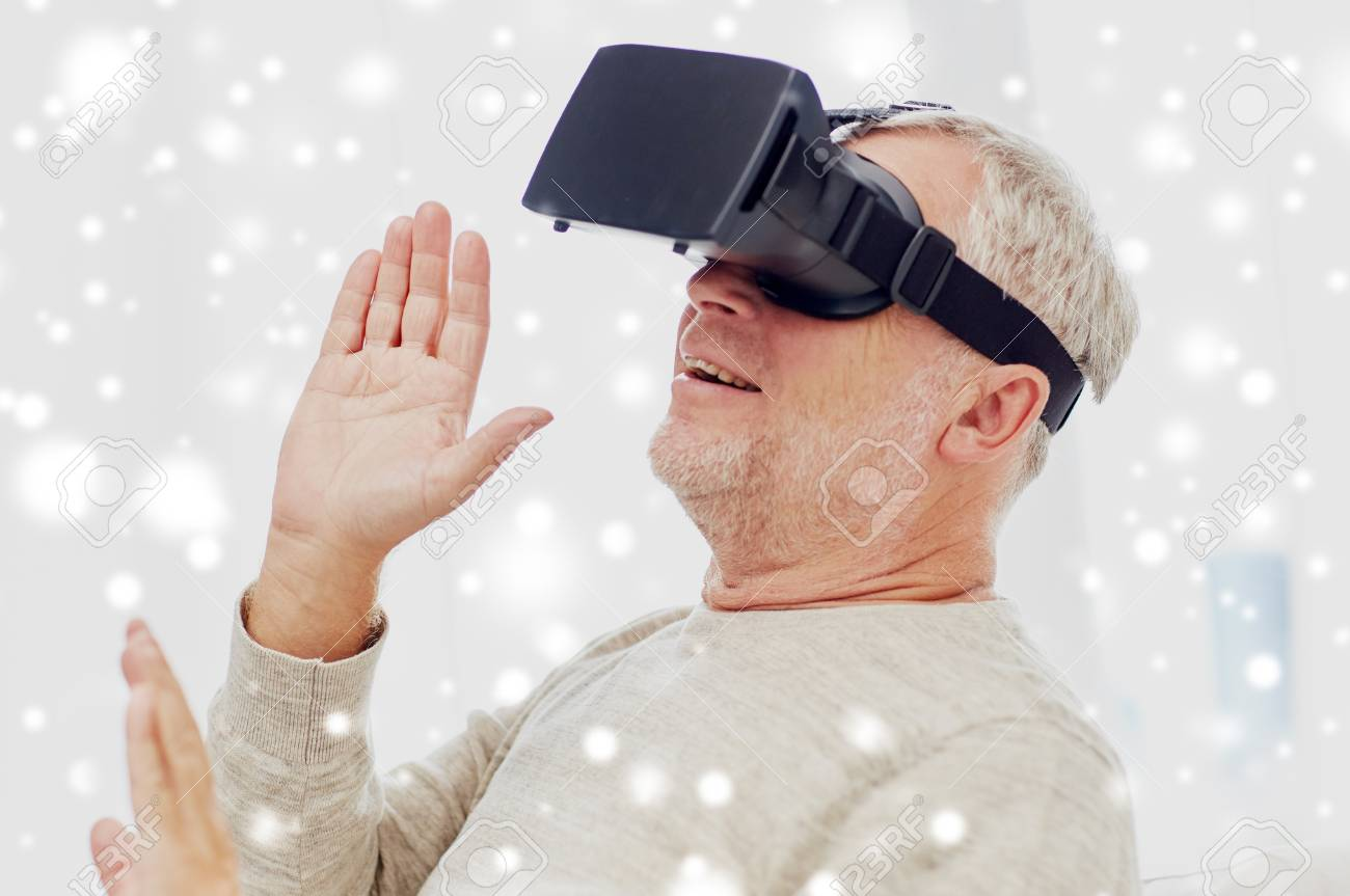 ba89e1e7b35 old man in virtual reality headset or 3d glasses Stock Photo - 89016012