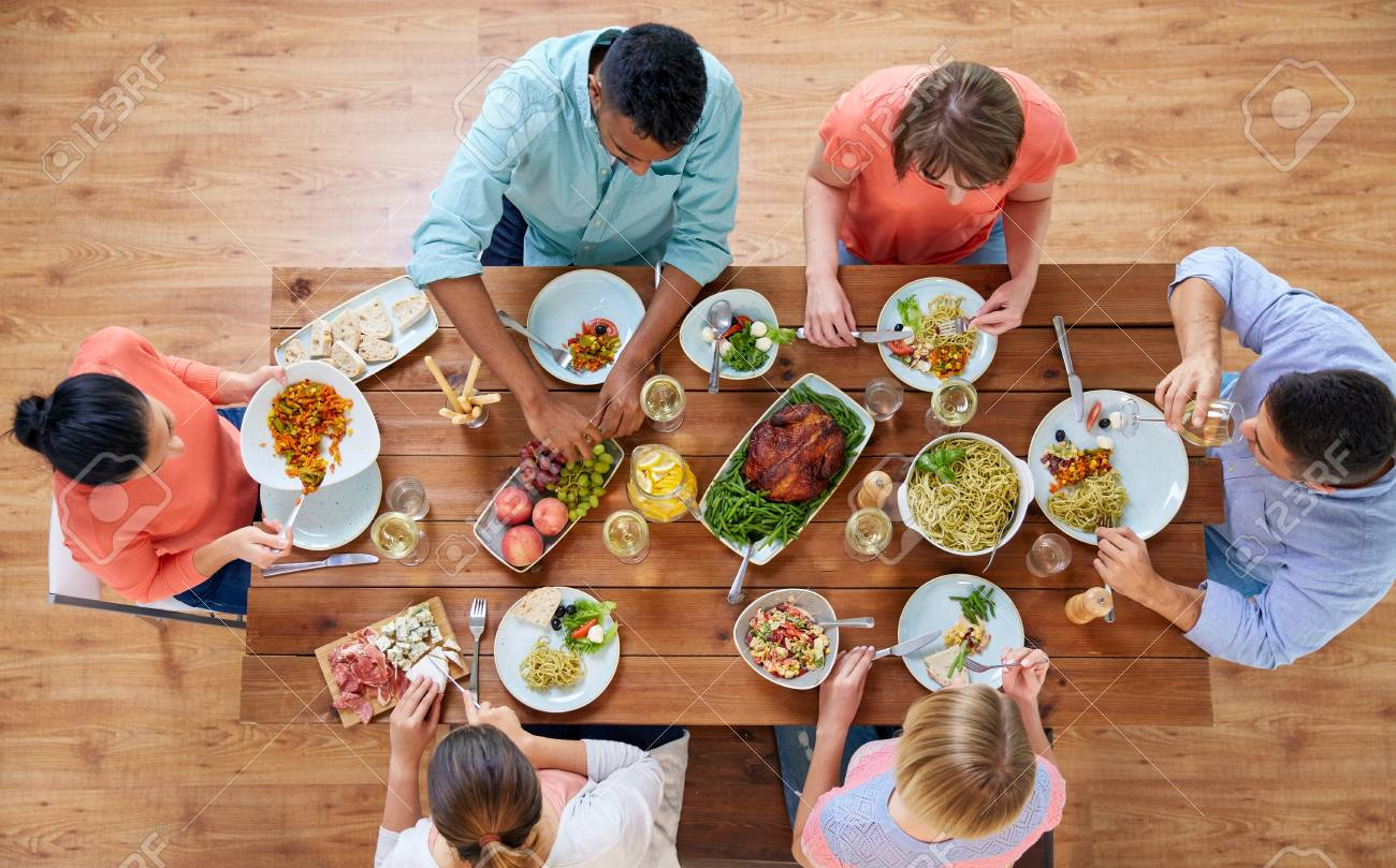 Marvelous Group Of People Eating At Table With Food Download Free Architecture Designs Embacsunscenecom