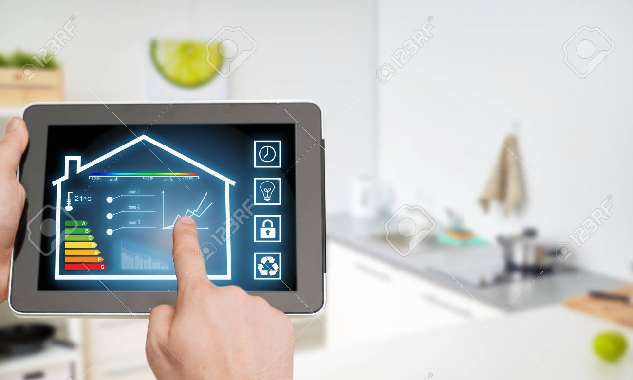 tablet pc with smart home settings on screen - 98257166