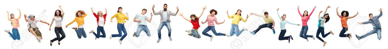 happy people jumping in air over white background - 102285476