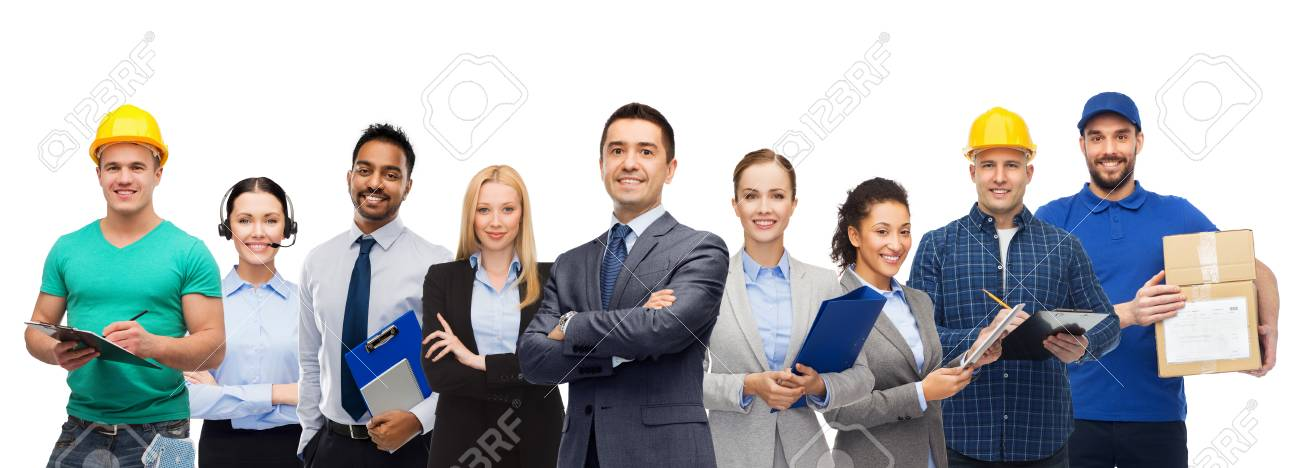 Group of office people and manual workers - 121996502