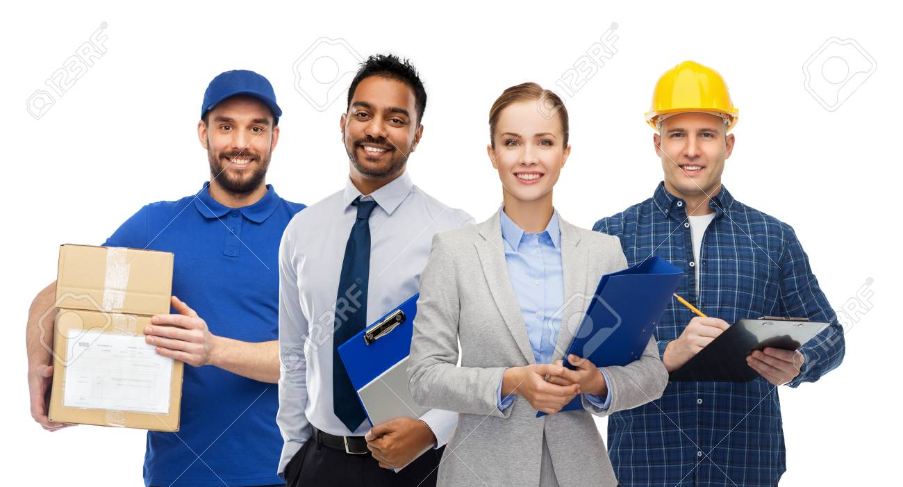 group of office people and manual workers - 122220840