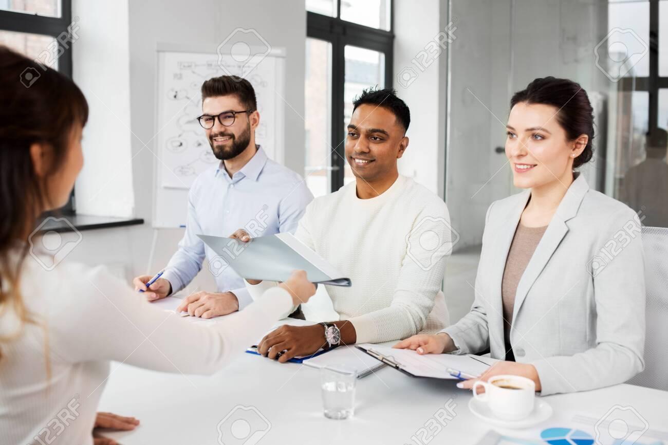 recruiters having job interview with employee - 126743069