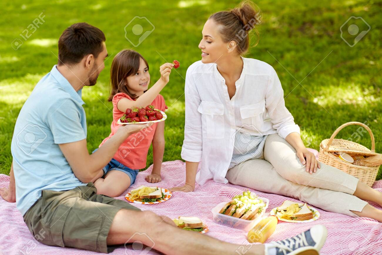 Family eating strawberries on picnic at park - 126941220