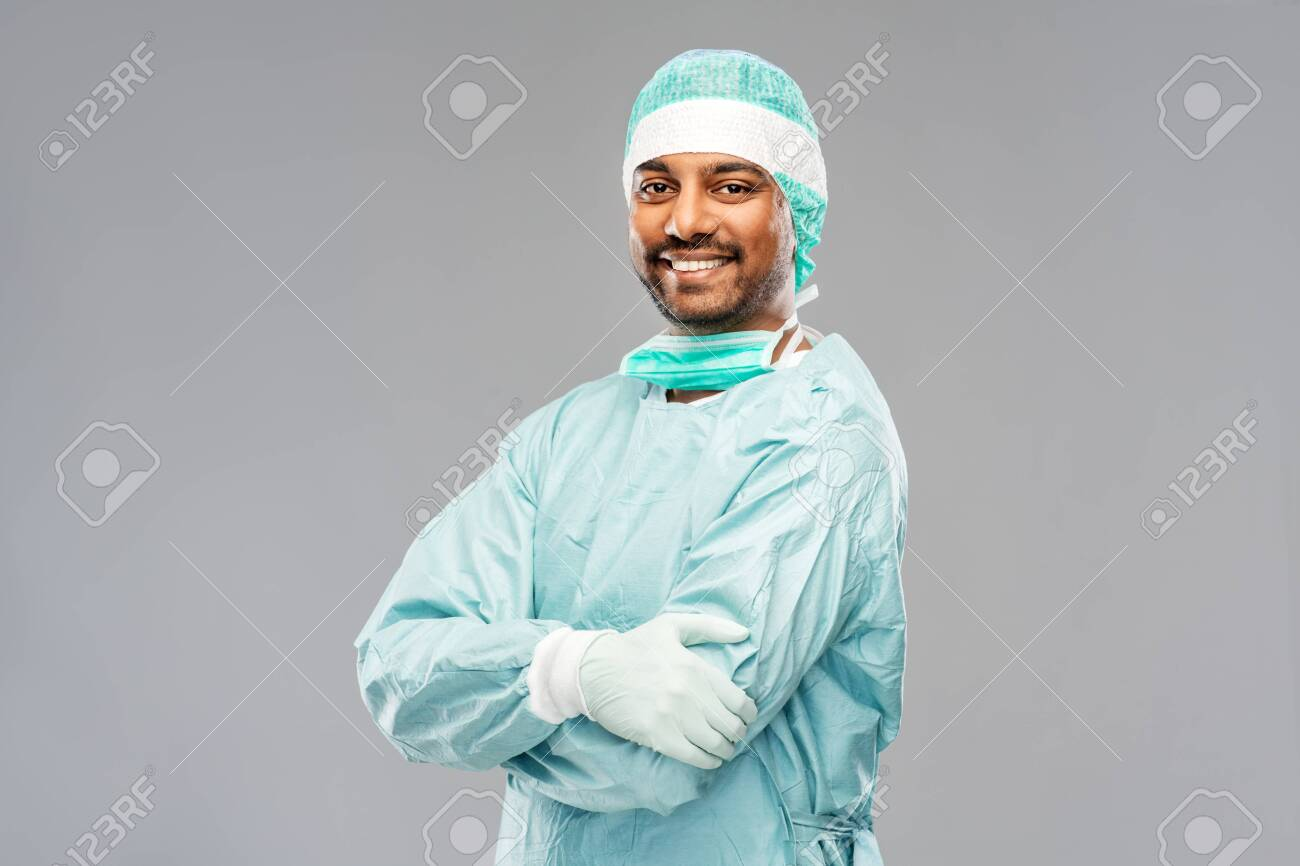 indian male doctor or surgeon in protective wear - 130496112