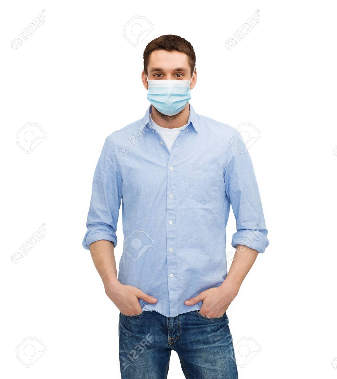 young man in protective medical mask - 143942399