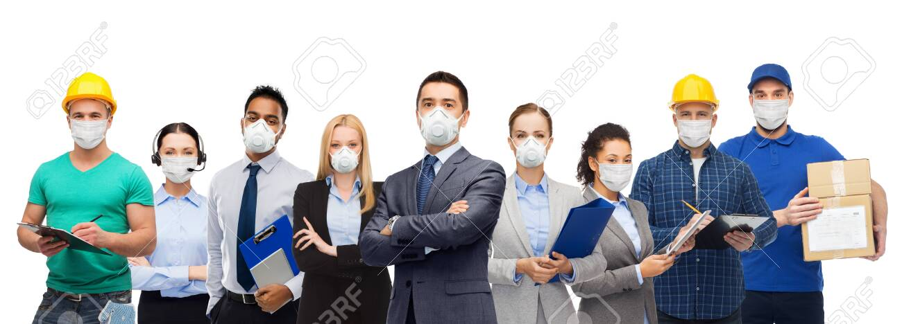 people in face masks for protection from virus - 144529623