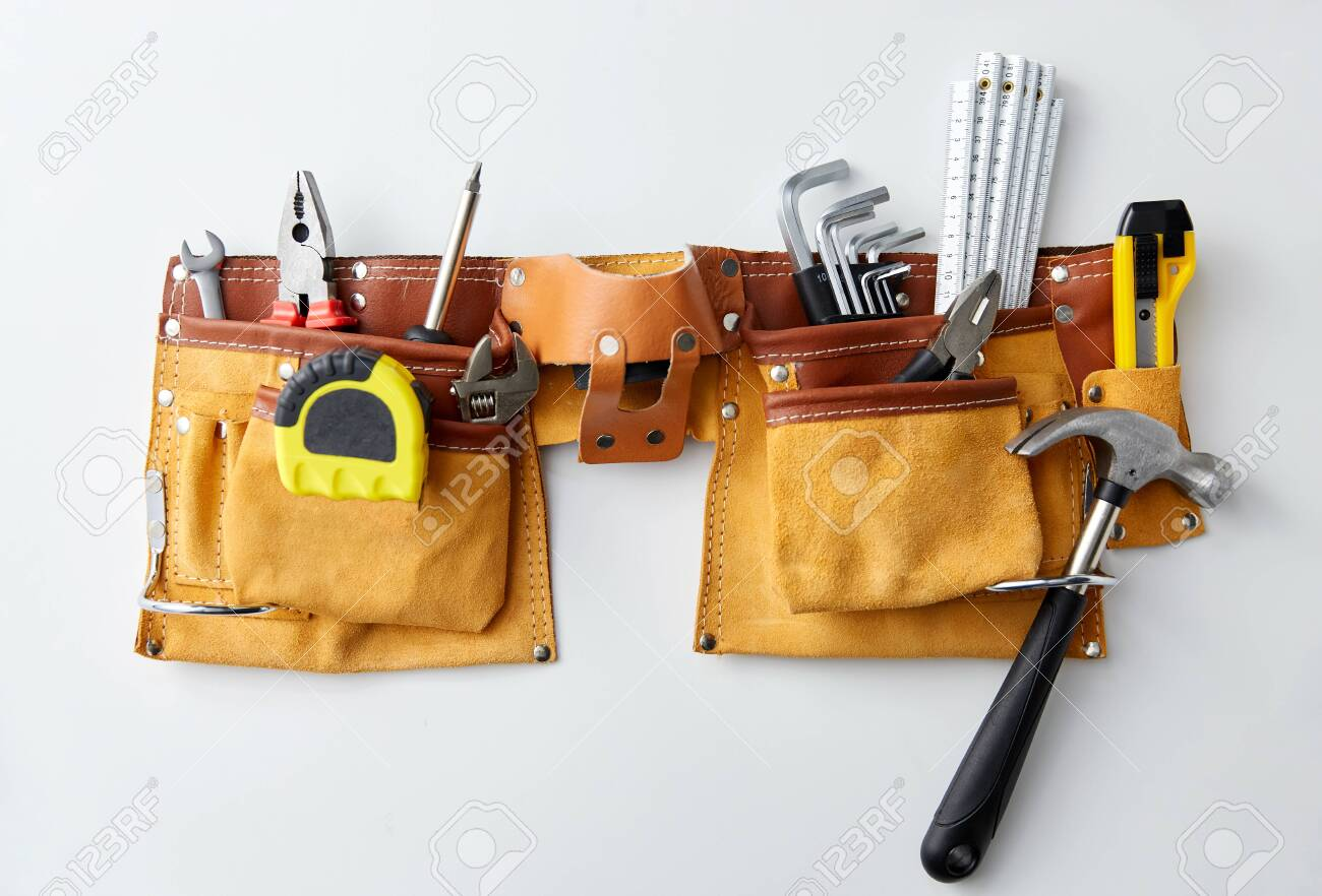 different work tools in belt on white background - 147426910