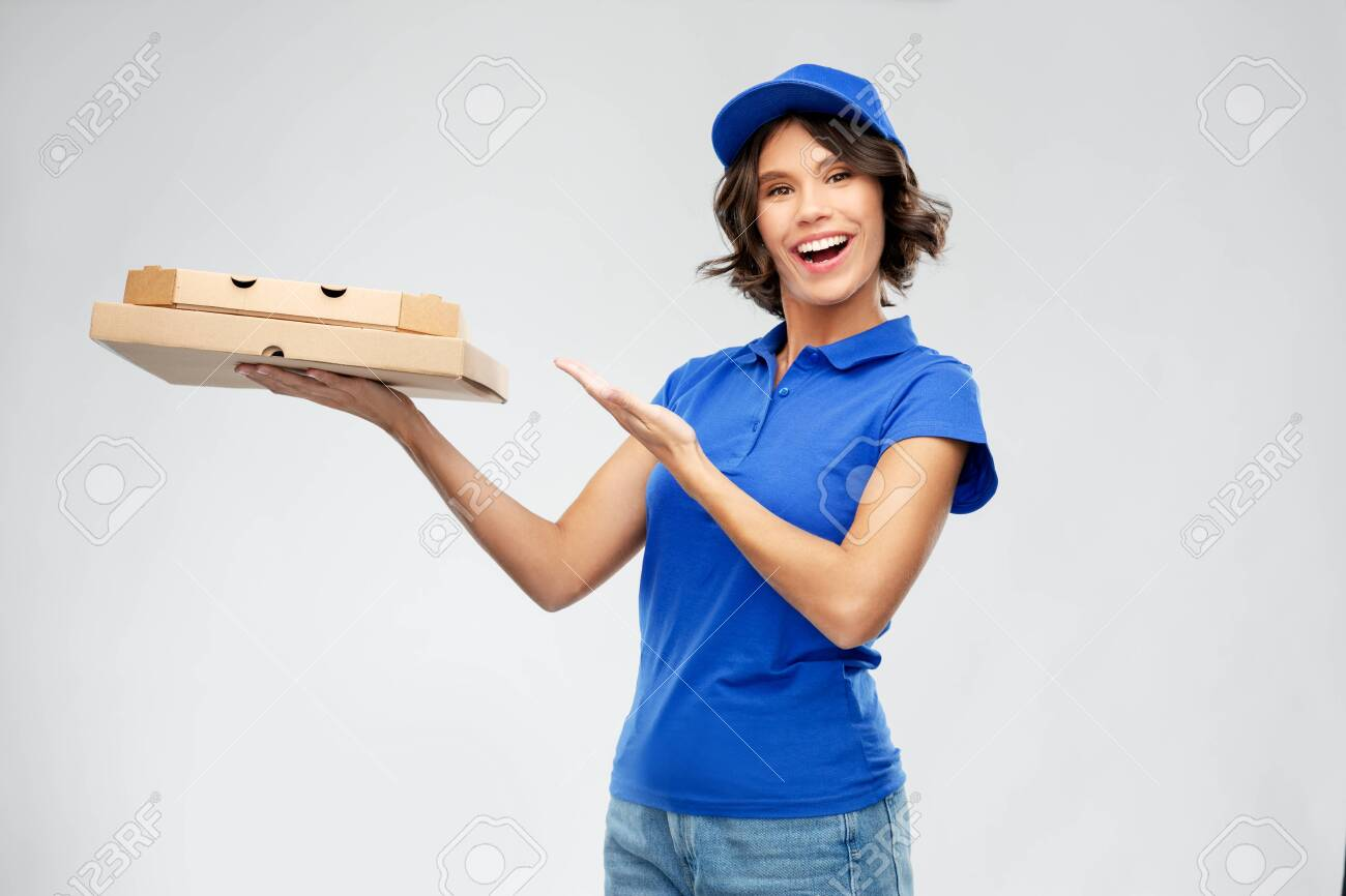 delivery woman with takeaway pizza boxes - 147335245