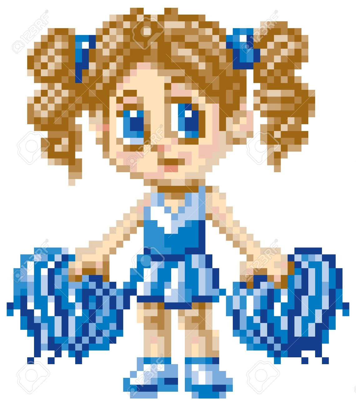 A Cheerleader Girl Illustrated In An Anime Or Manga Style Rendered
