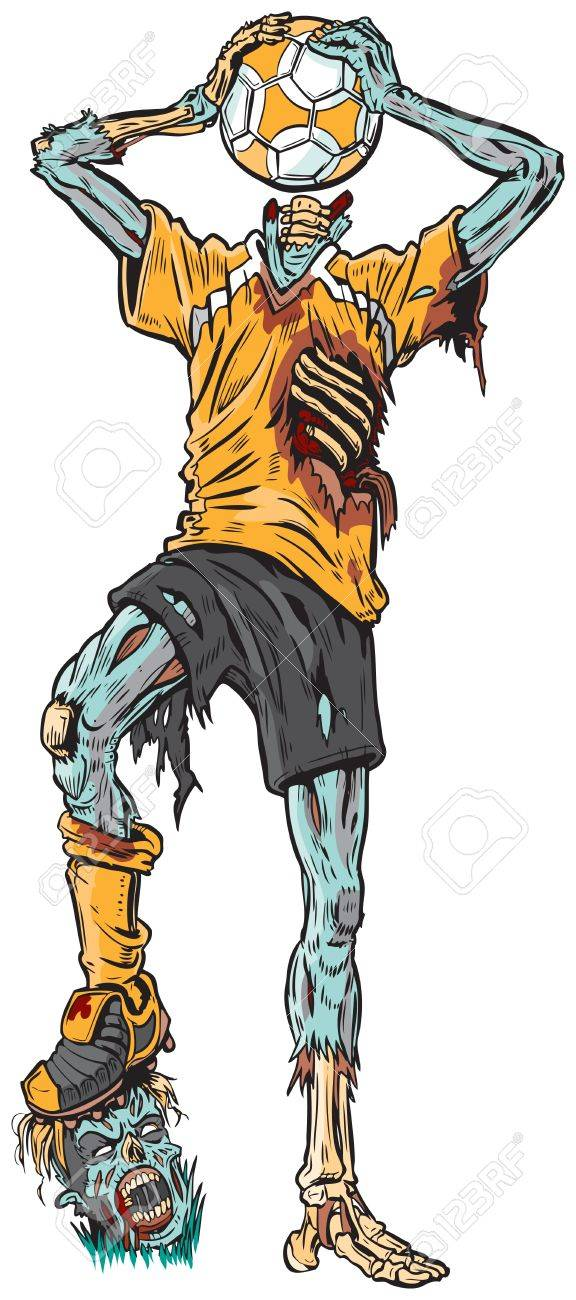 Vector cartoon illustration of a decayed zombie soccer player who has confused the ball for his missing head. Stock Vector - 20600547