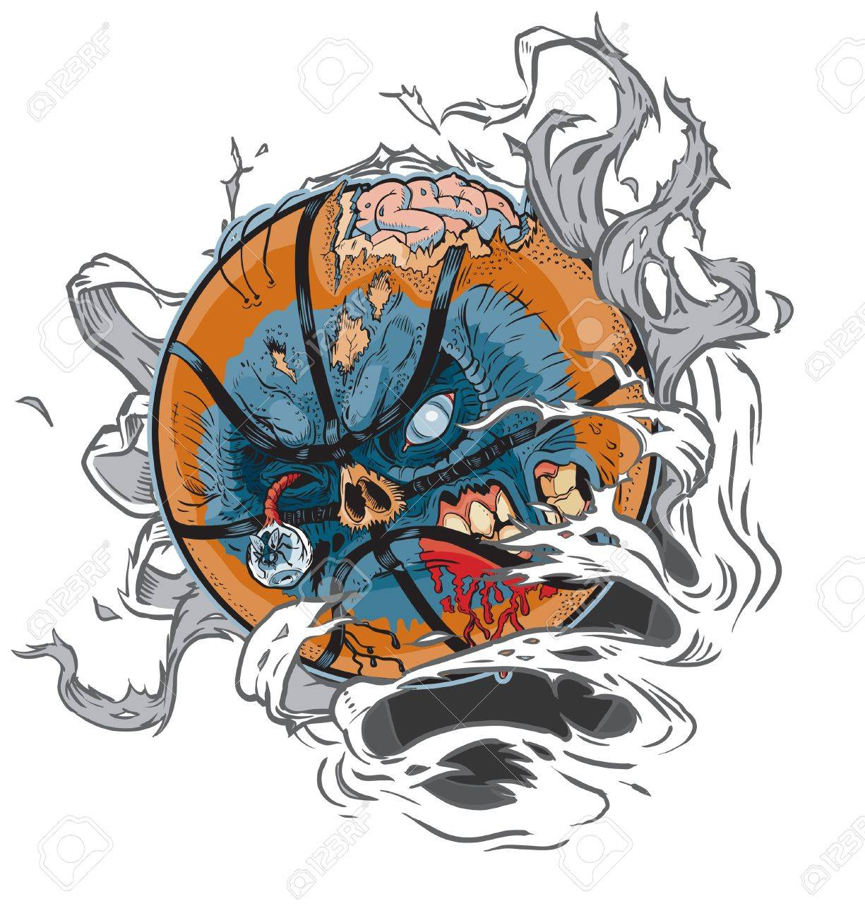 A Zombie Basketball Ripping out of the Background! All Important elements are in seperate layers in the .eps file for easy customization! Stock Vector - 20764418