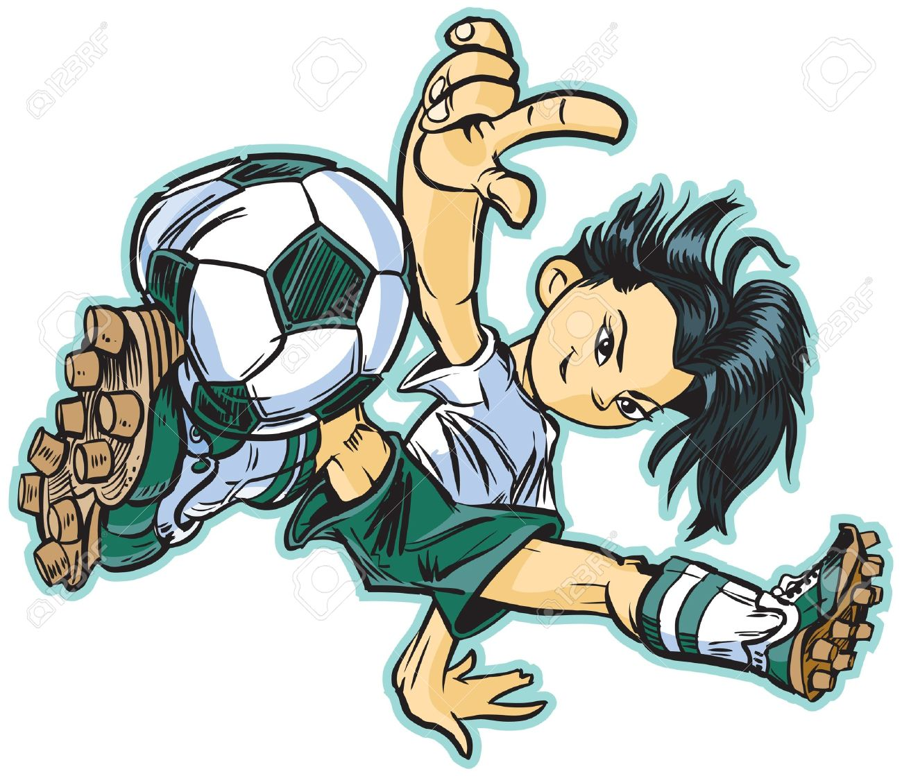 vector clip art cartoon of an asian girl using a break dancing move to play soccer. Also available in caucasian and african ethicities! Stock Vector - 20760343