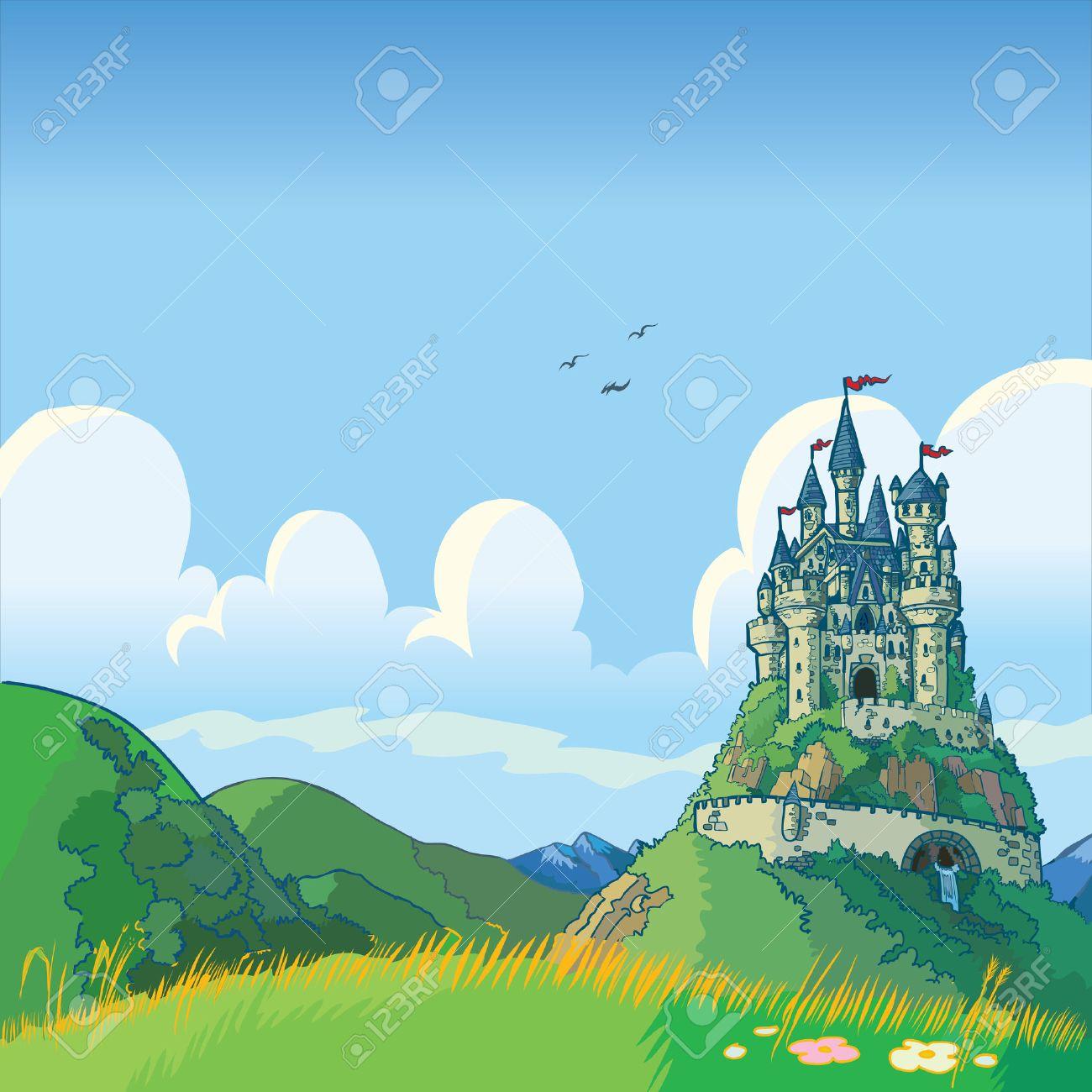 緑の丘と城の距離でローリングとファンタジー背景のベクトル漫画イラスト