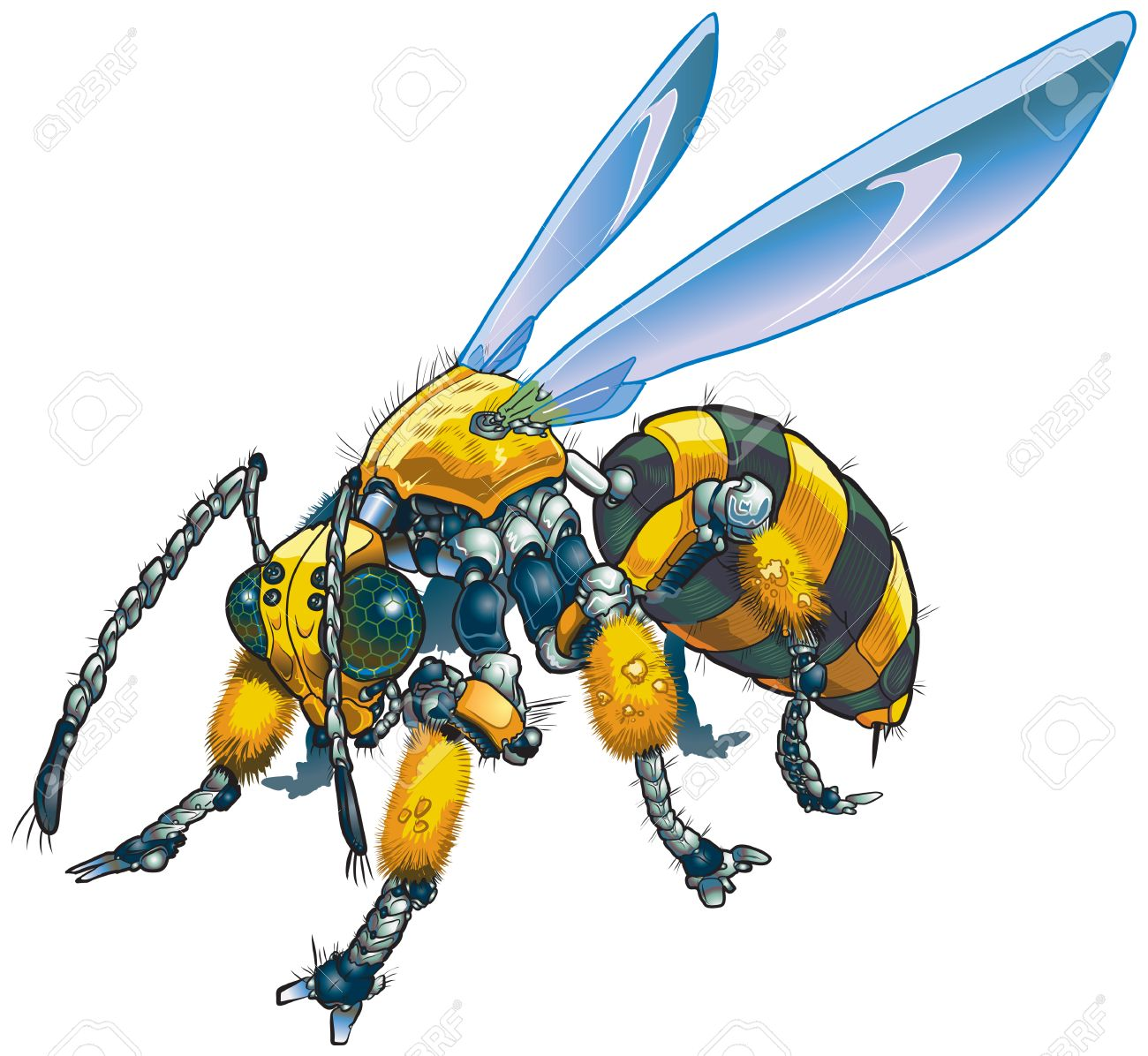 Vector cartoon clip art illustration of a robot wasp or bee. Could also be a conceptual illustration of future drone technology. Stock Vector - 26816943