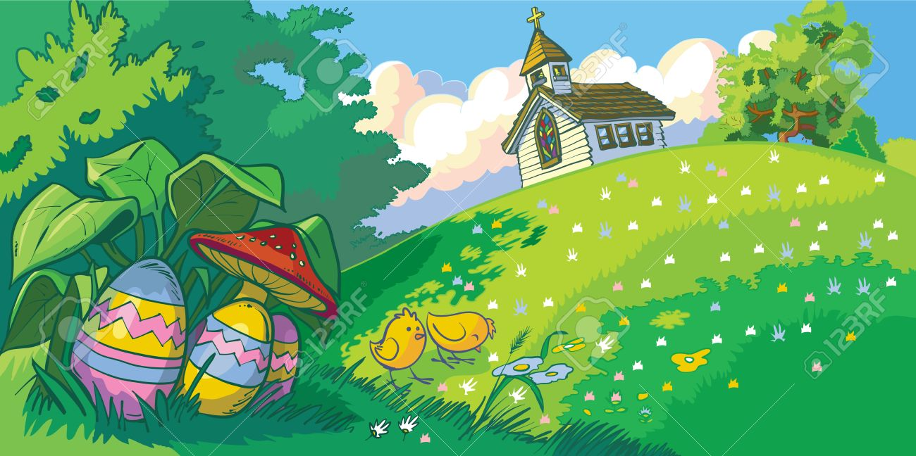 Vector Cartoon Clip Art Landscape Background With An Easter ...