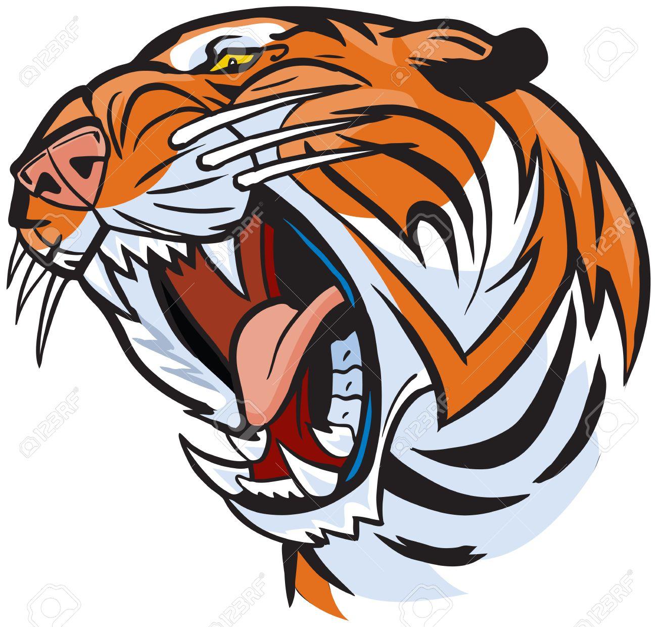 vector cartoon clip art illustration of a roaring tiger head royalty rh 123rf com white bengal tiger clipart bengal tiger clipart