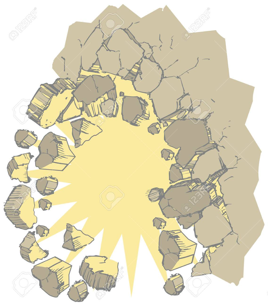 Vector Clip Art Illustration Of A Wall Exploding Outward Creating ...