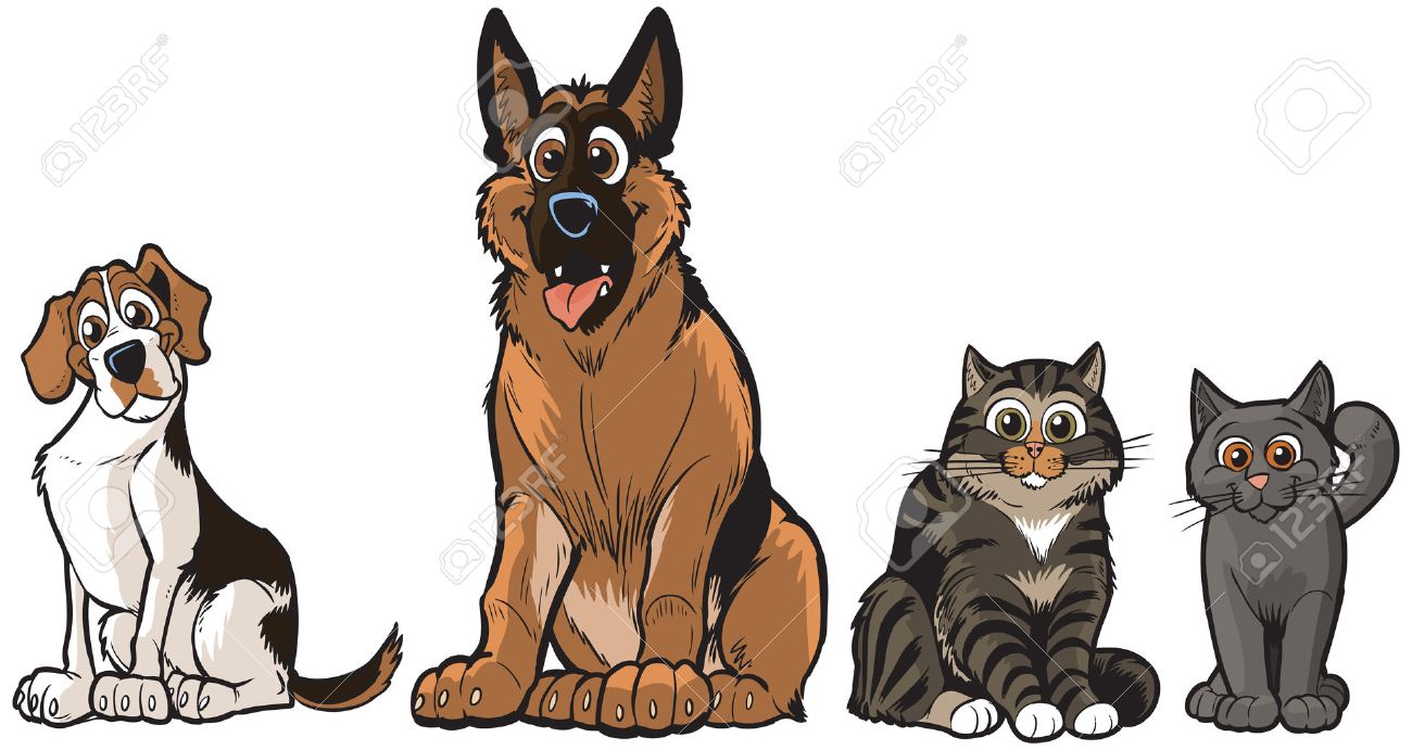 Vector Cartoon Illustration Clip Art Of A Group 2 Dogs And Cats