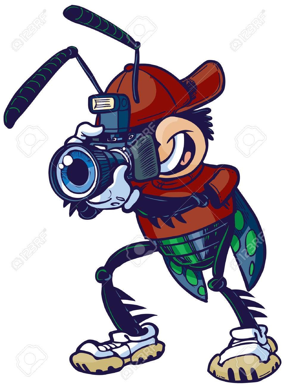 cartoon vector clip art illustration of a shutter bug or insect