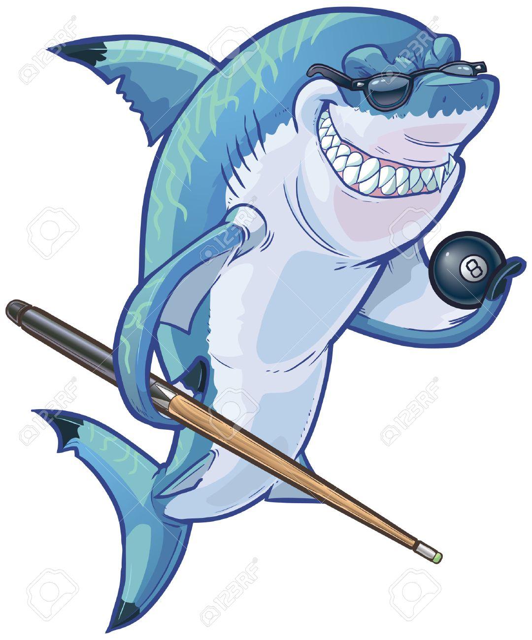 Vector cartoon clip art illustration d'un moyen sourire difficile requin mascotte des lunettes de soleil et tenant un ballon huit et queue de billard. Les accessoires sont sur un calque séparé dans le fichier vectoriel. Banque d'images - 40904187