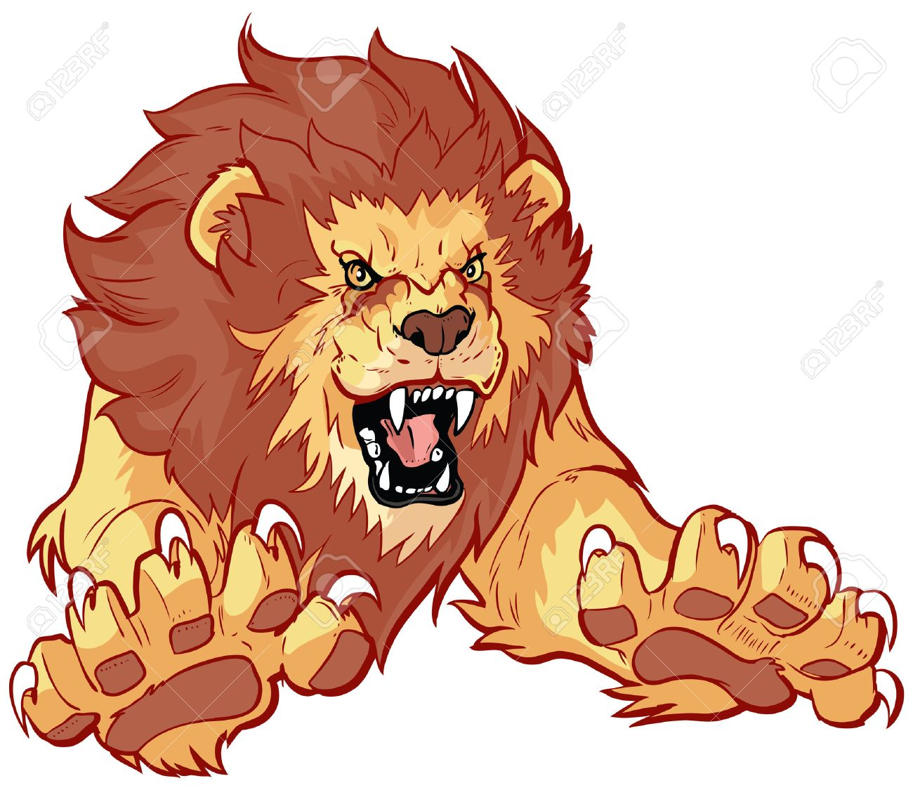 vector cartoon clip art illustration of a roaring lion leaping rh 123rf com roaring lion face clipart