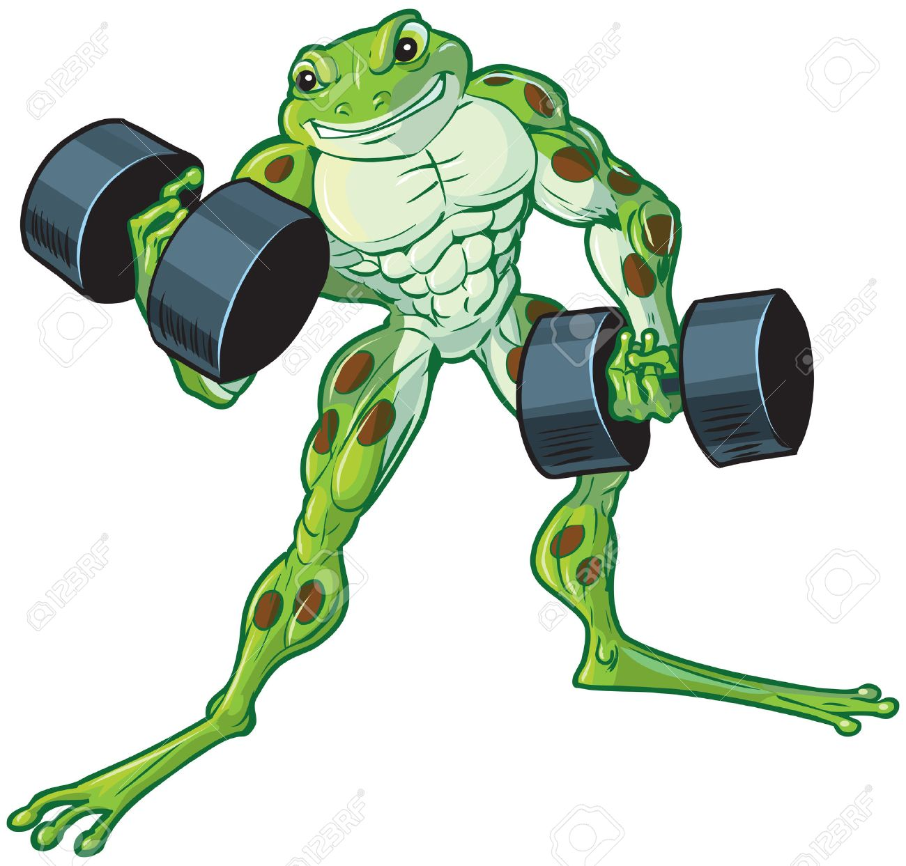 Vector cartoon clip art illustration of a tough muscular weightlifting frog curling or lifting dumbbells. - 50606770