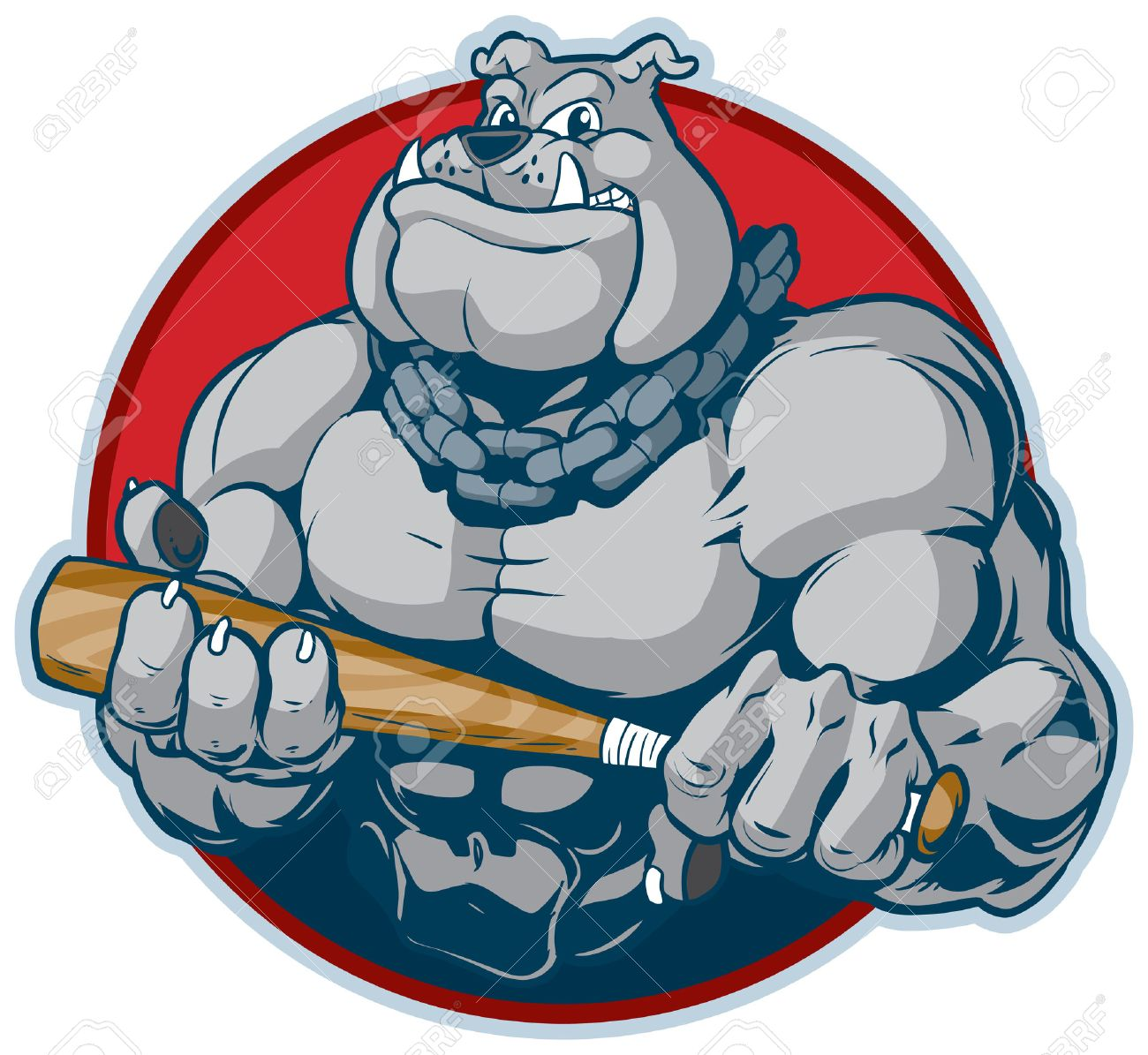 Vector Cartoon Clip Art Illustration Of A Tough Mean Muscular