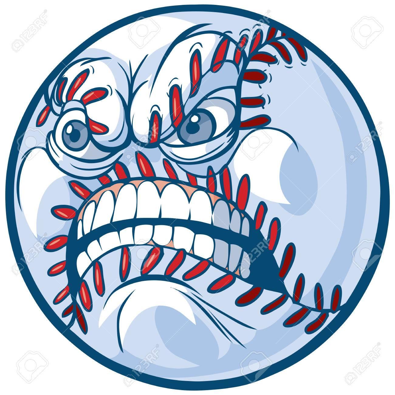 Vector Cartoon Clip Art Illustration Of A Baseball Or Softball