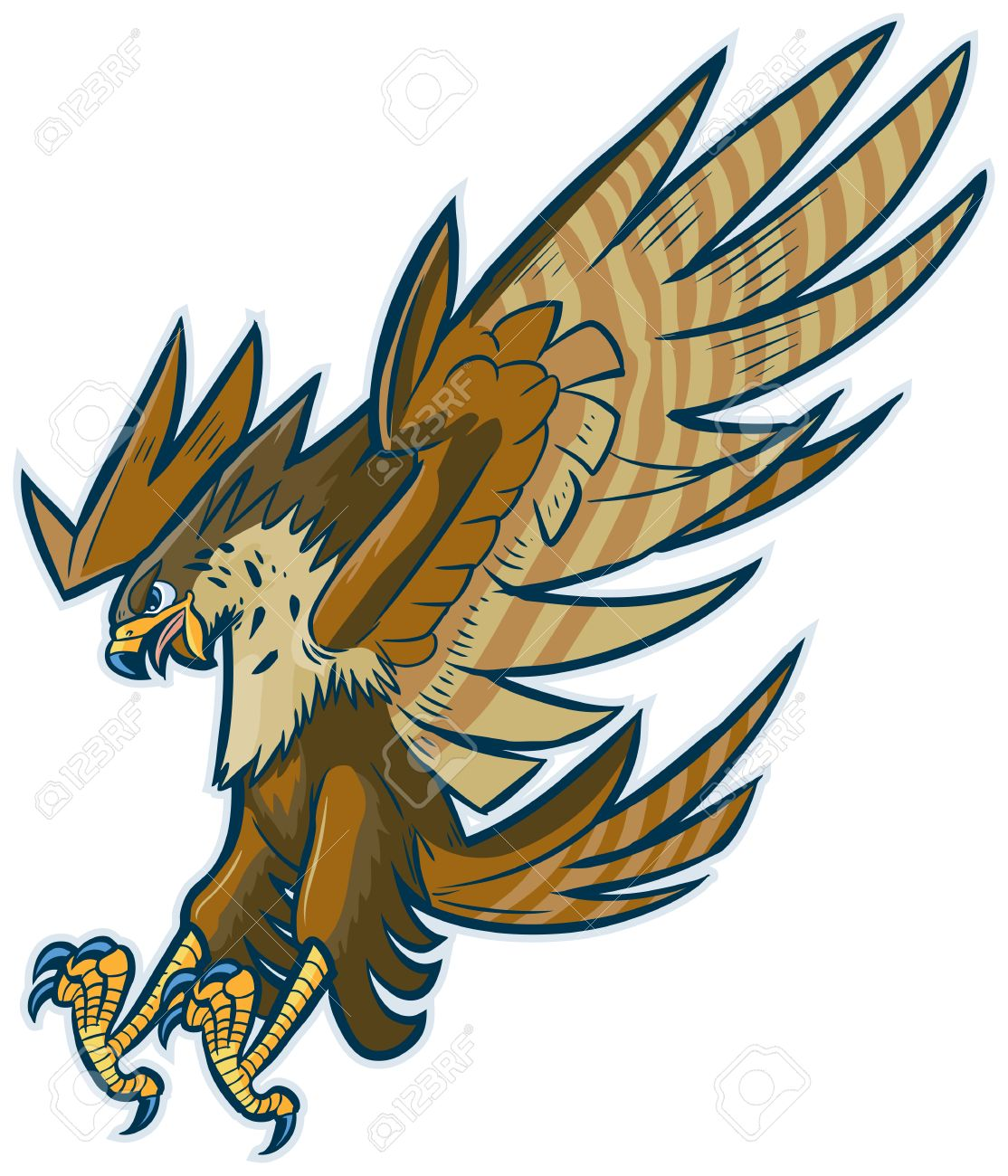 vector cartoon clip art illustration of a hawk falcon or eagle rh 123rf com clip art hawk in flight clip art hockey